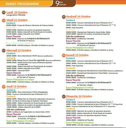 Programme des événements