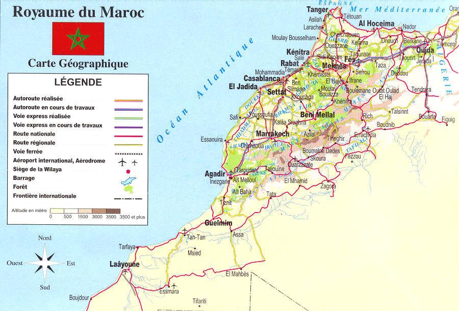 carte geographique du maroc carte du monde. Black Bedroom Furniture Sets. Home Design Ideas